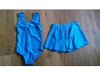 Katz turquoise ISTD leotard and skirt size 1