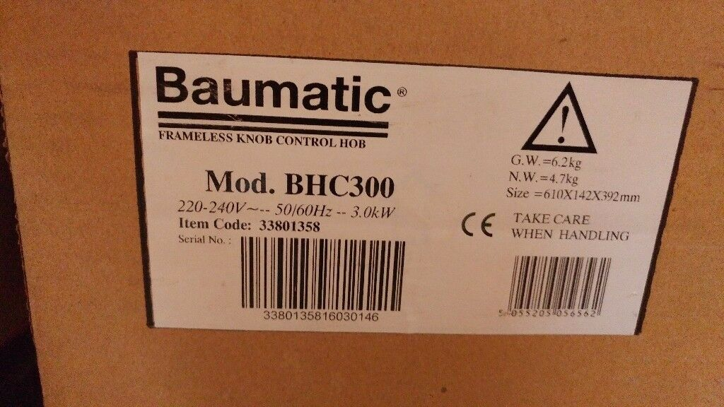 Baumatic 2 ring electric hob brand new boxed.