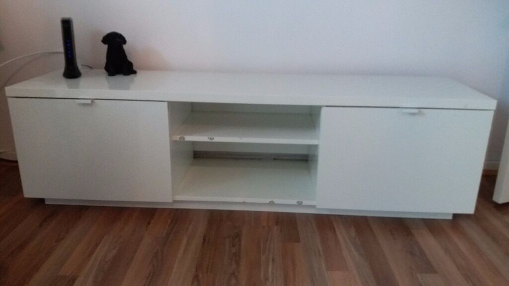 Ikea Byas Tv Bench High Gloss White W160cmxd42cmxh45cm