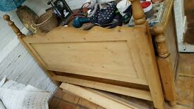 Pine Wood Double Size Bedhead w/ Footboard - Very Good Condition