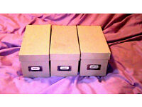 three Cd/DVD storage boxes