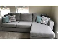Right hand facing chaise end grey sofa