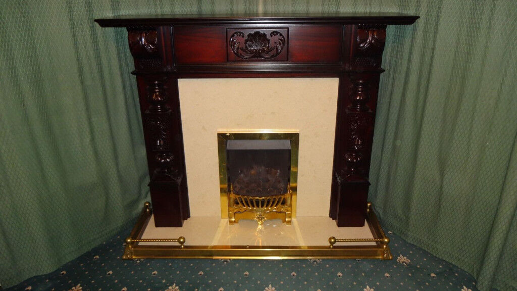 Mahogany Fireplace Surround With Marble Hearth Gas Fire And Brass