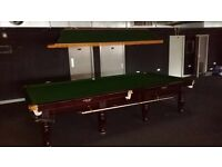 Full size and full set snooker tables