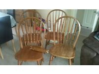 4 wooden dining chairs