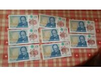 Sequential set of Five Pound Notes serial AK19 x8