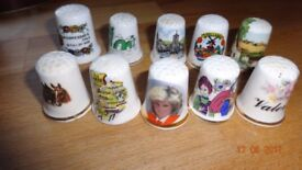 10 Thimbles in a Cute Vintage Cat Storage Tin Vintage Collectible Sewing/Hobbies
