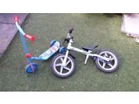 Kids balance bike and scooter