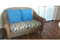 Cane Conservatory 3 piece 2 seater settee ,2 chairs