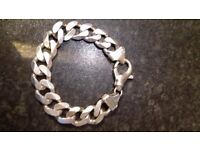 Heavy Curb Link Silver Mens Bracelets x 2.