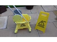 Mop and Bucket with Long Mop Pole and Cleaning Sign