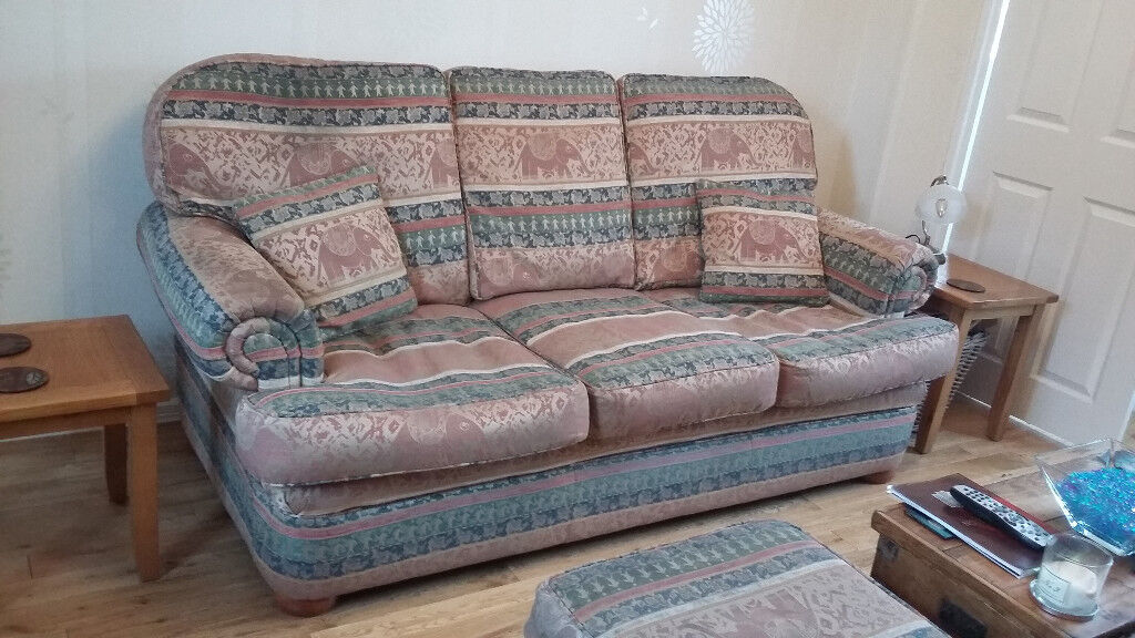 Three Seater Sofa, Chair and Footstool.
