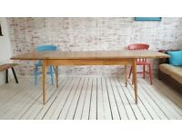 Extendable Mid-Century Modern Living Hardwood Dining Table with Drawer - Space Saving