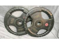 Pair of rubber 25kg weight plates