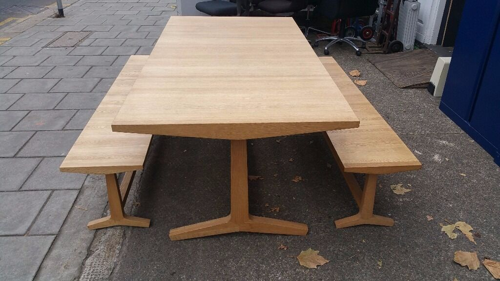 Habitat Parker Oak Dining Table And Two Benches