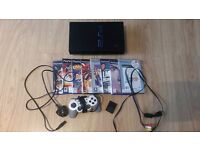 PS2 (PLAYSTATION 2) with controller, memory card, all leads, and games
