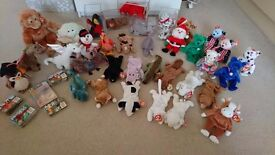Huge collection of over 30 ty beanie baby babies and buddies