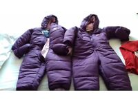 Two purple snow suits aged 2-3 new