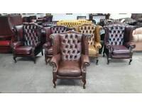 Stunning brown leather chesterfield wingback queen Anne chair UK delivery CHESTERFIELD LOUNGE
