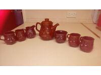 Handmade earthenware tea set