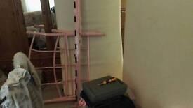 Childrens mwtal frame pink bed