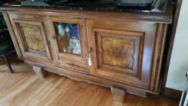 Antique oak sideboard with marble top – Buyer must collect