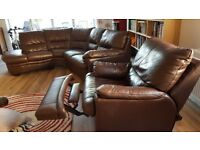 Brown leather corner sofa and recliner chair