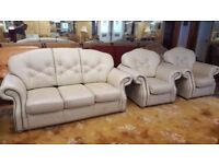 Leather Three Seater Sofa and 2 Armchairs