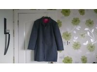 Ladies grey trouser suit with cerise pink lining Size 18
