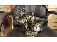 Bronze Victorian statue with quartz clock (mantle-piece)