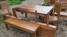 Beautiful solid wood dining table, chairs, benches and extenders