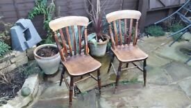 Vintage pine farmhouse chairs