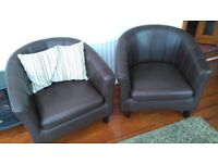 Tub chairs faux leather dark brown