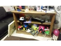 Antique pine shelf unit & cupboard, small dining table n chairs + much more