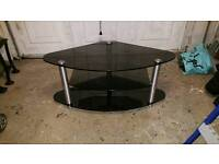 3 tier TV stand black glass and chrome.