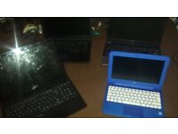 4 Hplaptops for spares or repair all easy fixes. 2 hp laptops 1 acer laptop 1 novatech laptop