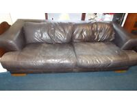 large leather goose feather filled 2 seater sofa and chair