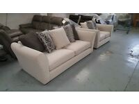 NEW Stunning Large 3 Seater Sofa & 2 Seater Sofa in Cream Fabric with Scatter Back Pillow Cushions