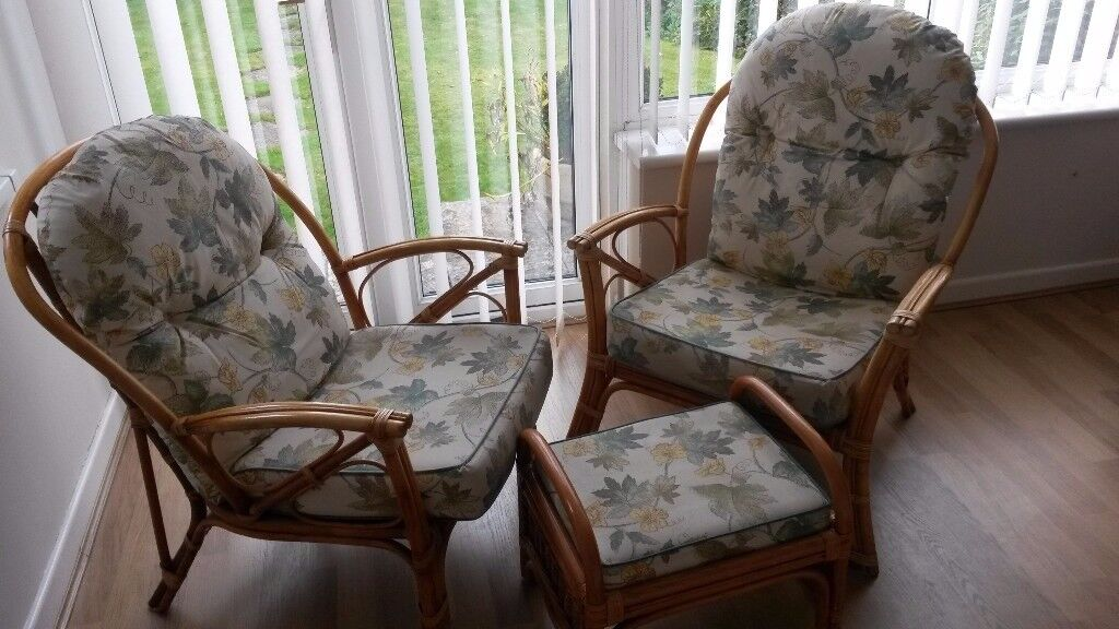 2 x Cane Chairs with Foot stool including cushions *Reduced*