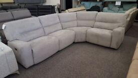 Furniture Village Eden Electric Recliner Silver Grey Soft Touch Fabric Corner Sofa Can Deliver
