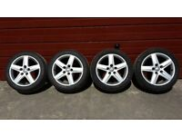 Set of 4 AUDI S-LINE ALLOYS complete with as new tyres 2 Winter 235/45 R17
