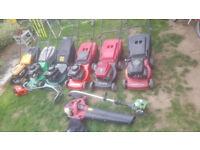 Lawnmowers, strimmers, garden tools