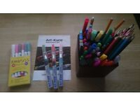 Mix of coloured pens, markers, paint pens, pencils etc for crafts