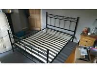 King size black metal bed frame
