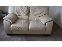 2 Seater Sofa in Cream leather - 1560mm long x 955mm wide - £10 but Collection only