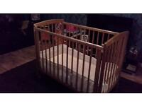 Pine Cot Bed with Mattress & She Bumper for sale
