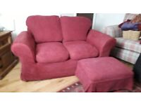 2seater fabric sofa with matching footstool with removable, washable covers