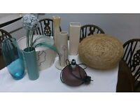 Vases, light shades and lamp job lot or seprate