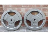 2 x 20KG CAST IRON TRI GRIP WEIGHT PLATES