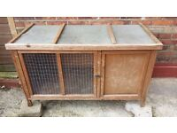 LARGE RABBIT OR GUINEA PIG HUTCH AND VERY LARGE RUN USED BUT GOOD CONDITION